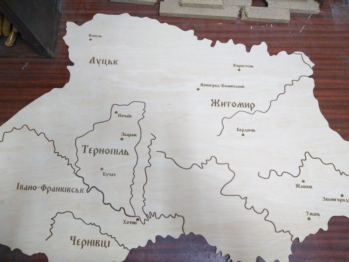 Карта Украины гравировка